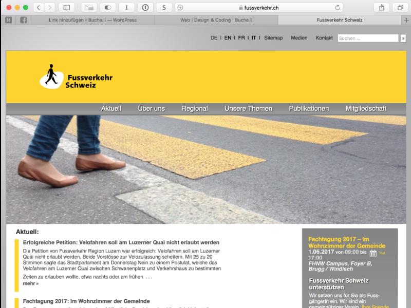 Fussverkehr Schweiz Webdesign: Optimierung Theme, Wordpress-Plugin, Responsiv-Desing  Support: IT-Betreuung als Angestellter