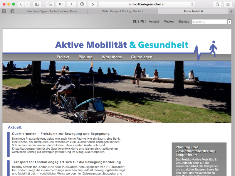 Aktive Mobilität und Gesundheit Webdesign: WP-Theme Child-Theme, Screendesign, Response Design, SEO, Wordpresslösung, Wordpress Plugin