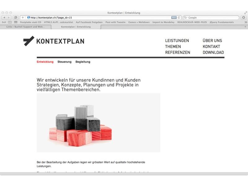 Kontextplan AG Webdesign: Programmierung, SEO, Wordpress – Support: Clientsupport und First-Level-Support Server 25 Arbeitsplätze an 3 Standorten, als Mitarbeiten und danach als Externer.
