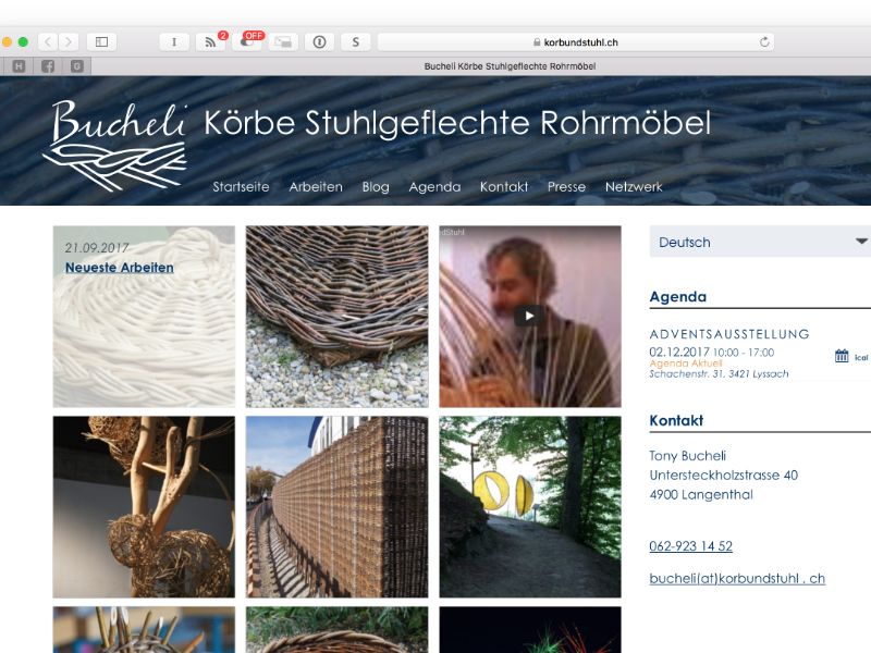 Bucheli – Körbe, Stuhlgeflechte, Rohrmöbel Webdesing: Screendesign, Responsiv Design, Wordpress, Themeprogrammierung, SEO – Support: Clientsupport, Beratung, Schulung, Windows, Mac, Migration, Netzwerk