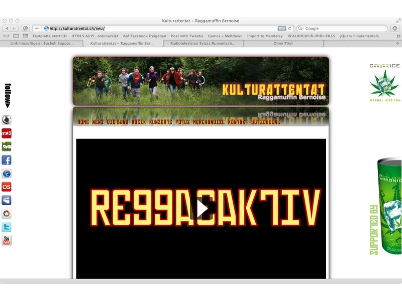 Kulturattentat – Raggamuffin Bernoise Konzept, Screendesign, Programmierung, Wordpress